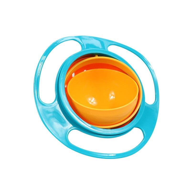 Универсальная миска для кормления детей с гироскопом, практичный дизайн, Детская вращающаяся миска для баланса, новинка, пищевая посуда, вращающаяся на 360 градусов, непроливающаяся миска - Цвет: Синий