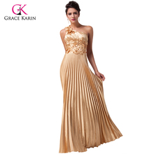 2017 Beautiful Luxury Gold Evening Dress Grace Karin Satin long Party Dresses new Formal Gowns vestido de festa longo 6033