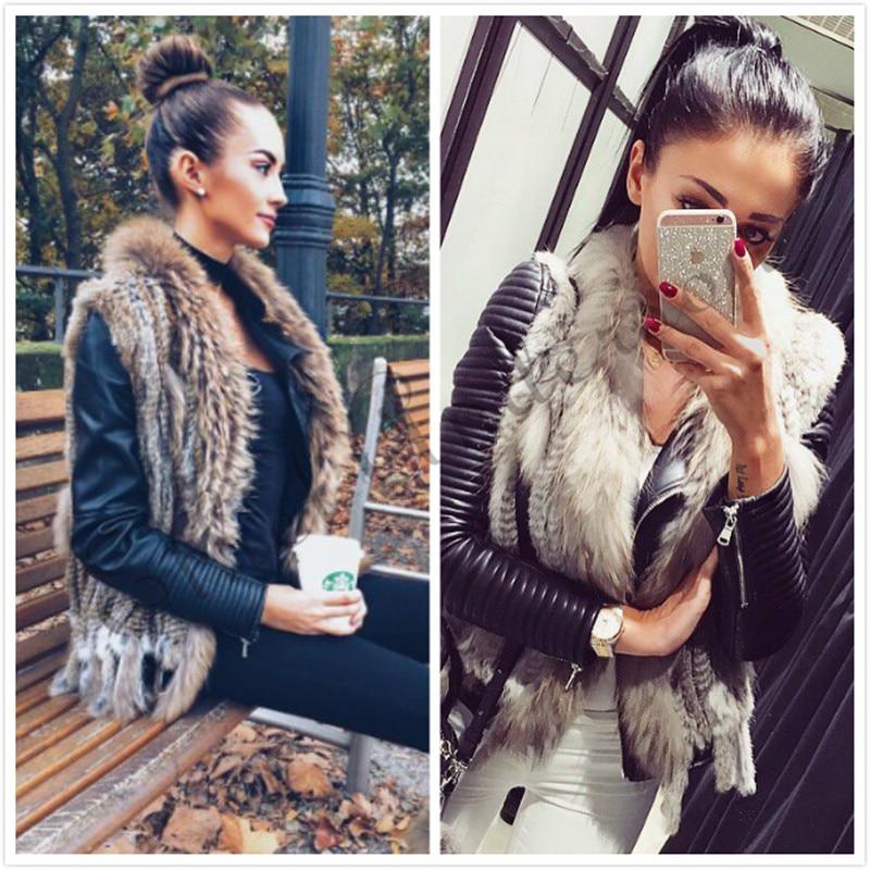 Casual Women Real Rabbit Fur Vest Raccoon Fur Collar Gilet Knitted Fur Wasitcoat