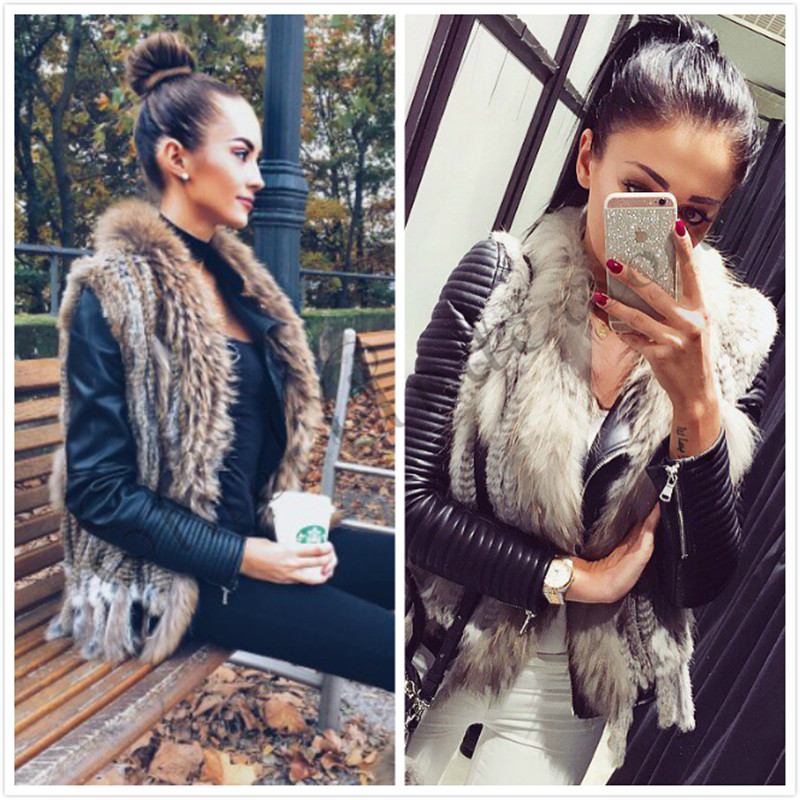 Klassisk Design Kvinders Fur Vest Raccoon Fur Collar Gilet Strikket Kanin Fur Kort Veste Detail / Engros Frakke Top Selling