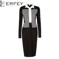 LERFEY Vestidos Kadın Zarif Elbise Yaka Çizgili Patchwork Elbiseler Sahte Twinset OL Ofis Kılıf Bodycon Elbise 3XL 4XL