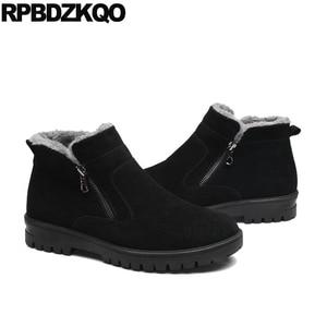 Image 4 - Male Snow Zipper 2017 Plus Size Ankle Winter Mens Boots Warm Black Shoes Fashion Comfortable Short High Top Footwear