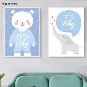 Image 3 - Cartoon Animals Elephant Prints Posters Baby Funny Quotes Canvas Painting On The Wall Kids Nursery Bedroom Art Picture Home Deco