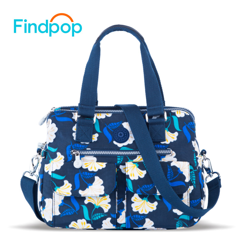 Findpop Flowers Printing Handbags Women 2018 New Fashion Totes For Women Crossbody Bag Large Capacity Waterproof Nylon Tote Bags-in Top-Handle Bags from Luggage & Bags    2