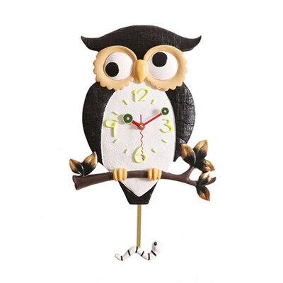 Résine créative horloge lumineuse hibou oiseau chambre horloge murale vivant mode quartz balançoire paresseux montre