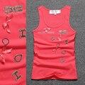 Color beige de moda carta de la Mano rebordear Sólido del cuello de O Tank top Mujeres 95% Algodón de los cabritos singlet top girls top sexy camiseta de verano