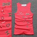 Fashion beige letter Hand beading Solid O neck Tank top Women 95% Cotton kids singlet top girls top sexy sexy summer undershirt