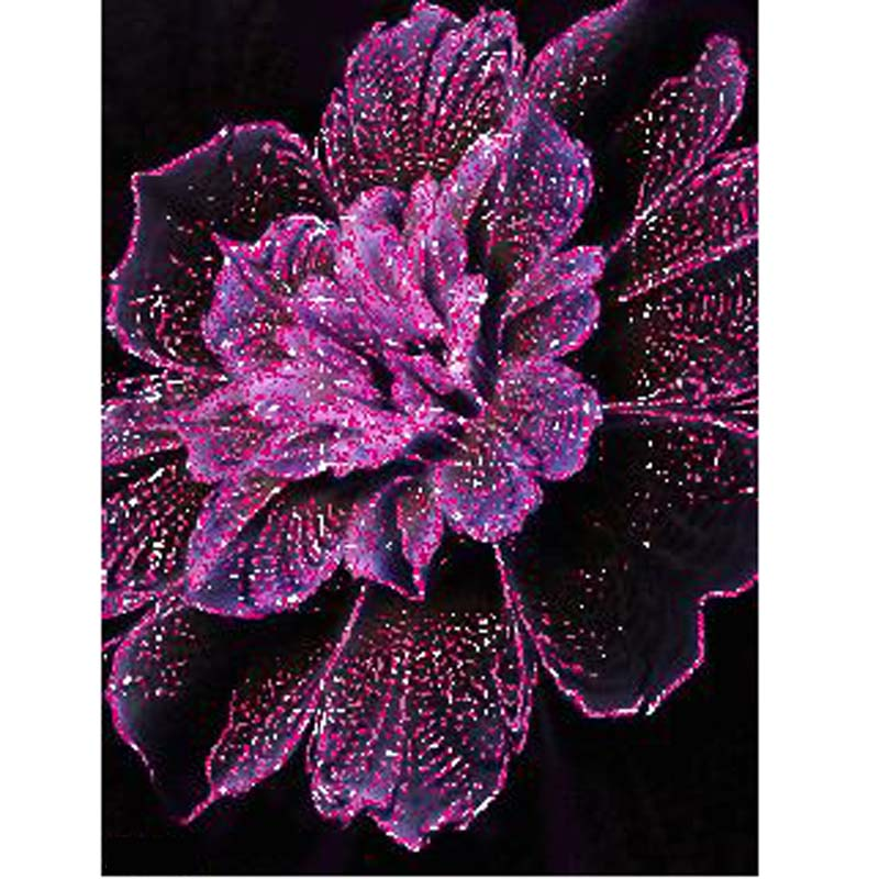 diy diamond painting 3D embroidery diamond embroidery round diamond purple flower canvas diamond picture hcr