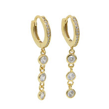 925 sterling silver Elegant teardrop drip bling zircon CZ 3 colors hoop Earring For women Wedding Fashion dainty earrings 2019(China)