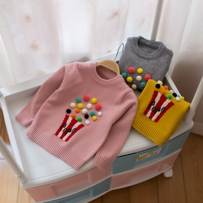 Girls Boys Cozy Sweater Spring Autumn Baby Warm Colourful Bobble Jumper Children Kids Outerwear Clothes 3 Colors Available