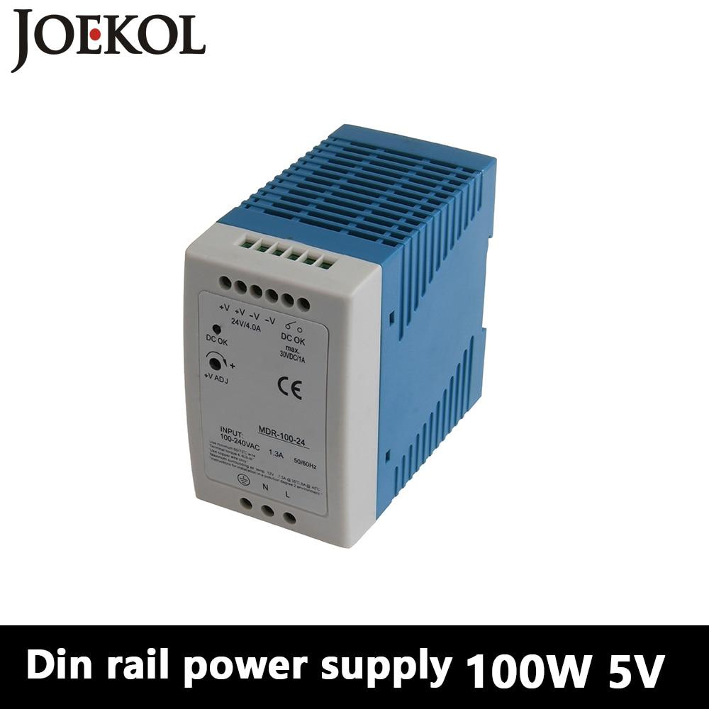 MDR-100 Din Rail Power Supply 100W 5V 20A,Switching Power Supply AC 110v/220v Transformer To DC 5v,watt power supply mdr 10 mini din rail power supply 10w 5v 2a switching power supply ac 110v 220v transformer to dc 5v watt power supply