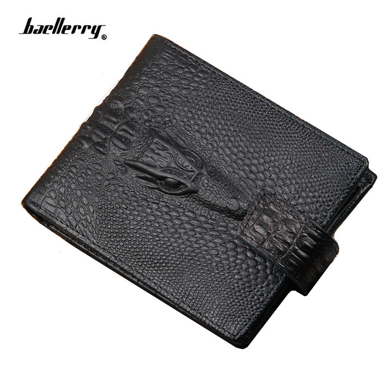 Men's Wallet Short Crocodile Quality Purse Male Brand Vintage for Guaranteecard