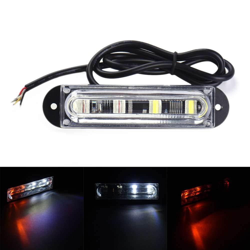4 LED White Yellow Car Police Strobe Flash Light Bar Lamp Dash Emergency Warning Flashing Side Maker Light 12V 24V s2 shovels ray bead 96w led flashing police strobe intimidator windshield dash light