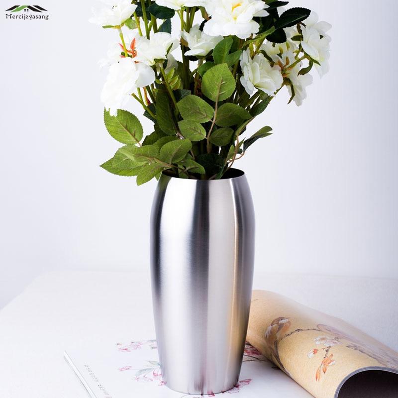 Flowers Vases Table Centerpiece Vase Metal Silver Tabletop