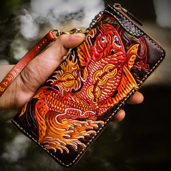 Handmade Genuine Leather Wallets Chinese Carving Carp Bag Purses Women Men Clutch Vegetable Tanned Leather Wallet Christmas Gif