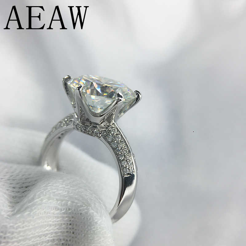 AEAW 3 Carat ct 9mm Engagement HI Color Wedding Round Moissanite Ring Lab Grown Diamond Ring in 925 Sterling Silver For Women