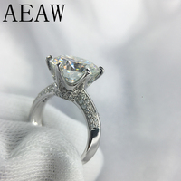 AEAW 3 карат ct 9 мм Обручение Здравствуйте Цвет Свадебные Круглый Муассанит кольцо Лаборатории Выросли Кольцо с бриллиантом в 925 пробы серебро