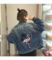 2016 новая осень вышитые джинсовые куртки женщины 2016 Корейская версия ретро свободные фламинго pattern пальто