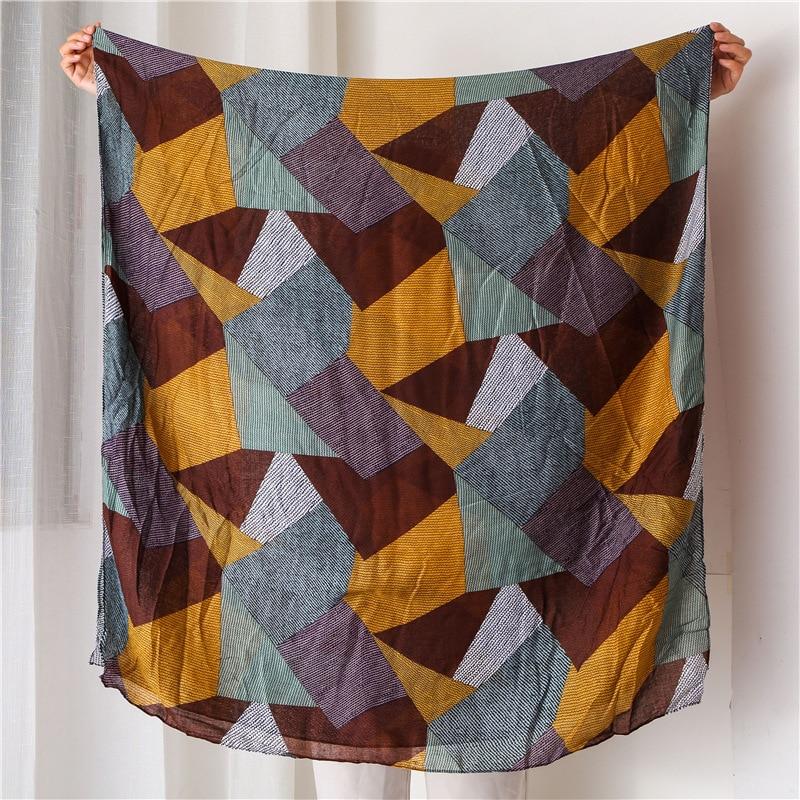 KYQIAO women ethnic   scarf   2019 female autumn spring Spain style long ethnic geometric patchwork head   scarf     wraps   muffler