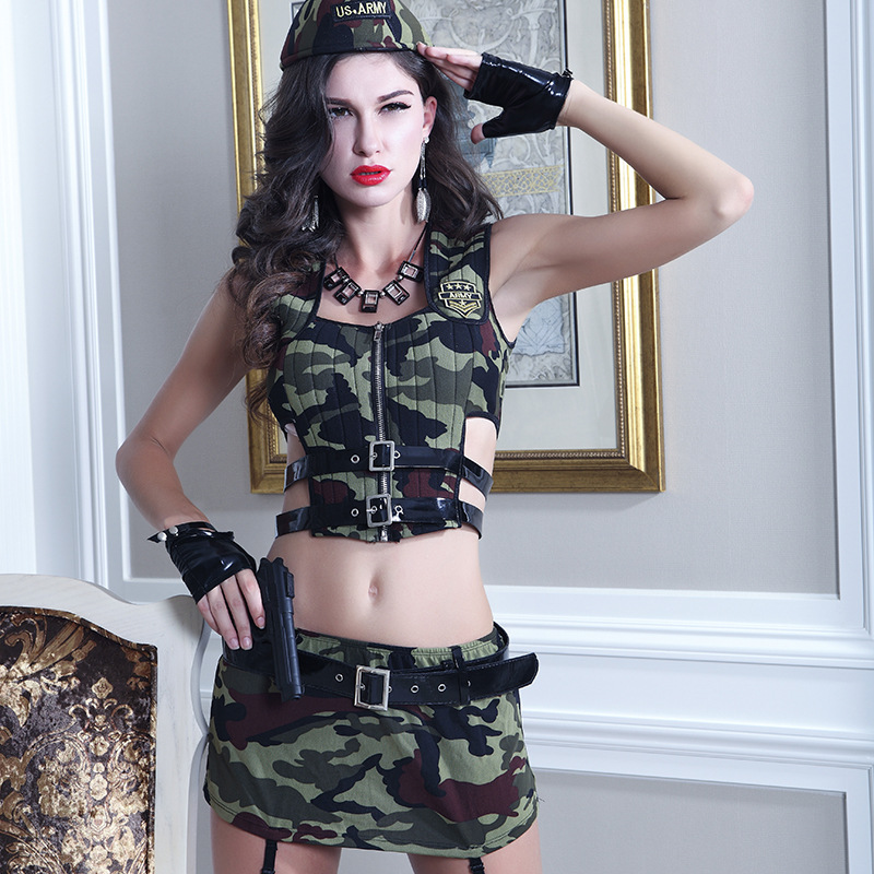 Hot Sale Soldier Cosplay Sexy Role Play Military Tops and Skirt Camouflage Masquerade Fancy Outfits in Sexy Costumes from Novelty Special Use
