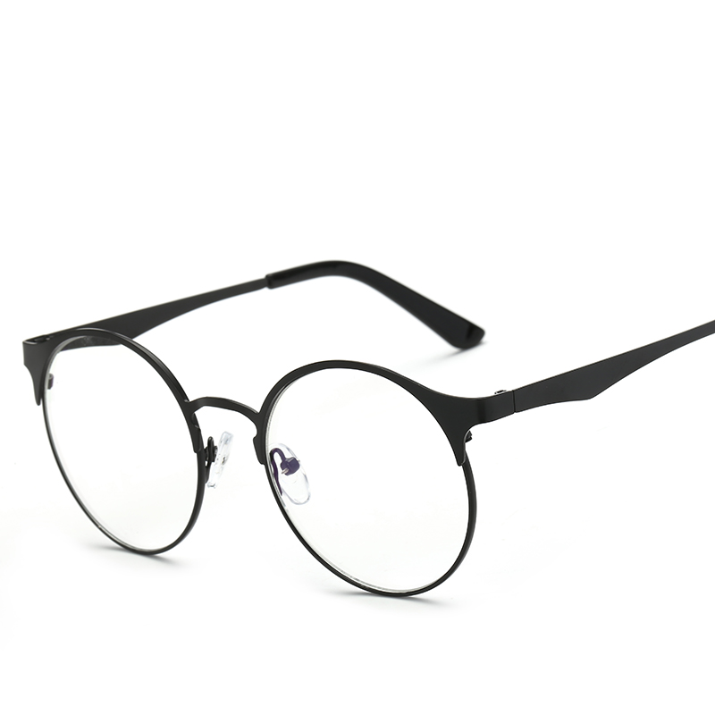 Metal Eyewear Frames Retro Round Prescription Eyeglasses With Clear ...