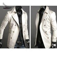 New Men trench jacket Fashion Korea Slim Classic Double Breasted Wool Coat Jacket Windbreak 4 size 2 Colors Free Shipping