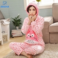 Autumn And Winter Ladies Long Sleeves Thick Warm Coral Velvet Suit Home Furnishing Cute Cat Biscuits Softs Pajamas Sets with Hat