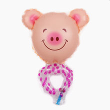 XXPWJ 1pcs Free Shipping New Mini Hand Ring Pig Aluminum Film Balloon Children Toy Party Birthday Decorative Balloon E-004(China)