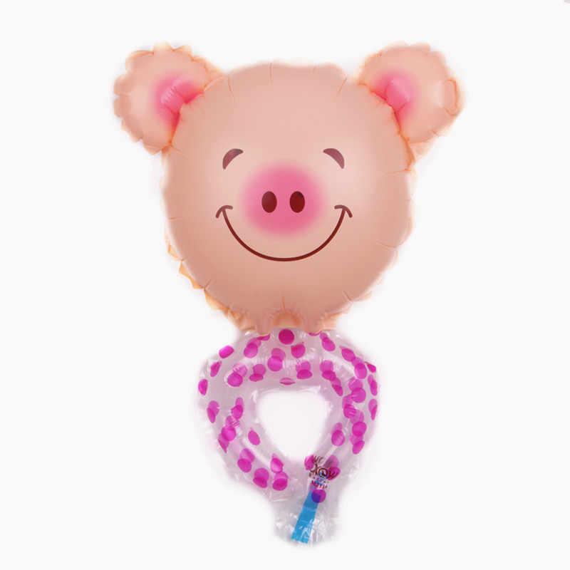 XXPWJ 1 pcs Frete Grátis Novo Mini Mão Anel De Porco Brinquedo Das Crianças da Festa de Aniversário de Alumínio Balão Filme Balão Decorativo E-004