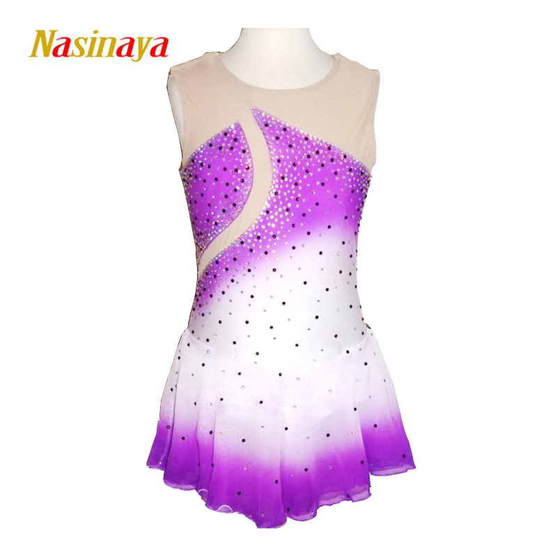 Customized Costume Ice Figure Skating Gymnastics Dress Competition Adult Child Girl Performance Purple White Body Rhinestone vik max adult kids dark blue leather figure skate shoes with aluminium alloy frame and stainless steel ice blade