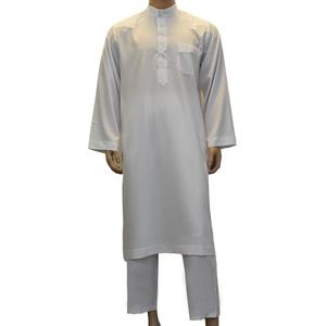 Image 2 - Robe arabe pour hommes, 2 pièces, vêtements musulmans saoudiens, tenue avec pantalon, Dubai Thobe Kaftan, Dishdasha Thoub, col montant