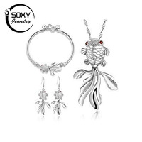 Free Shipping High Quality 925 Sterling Silver Goldfish Design Jewelry Sets One Drop Earrings Pendant Necklaces