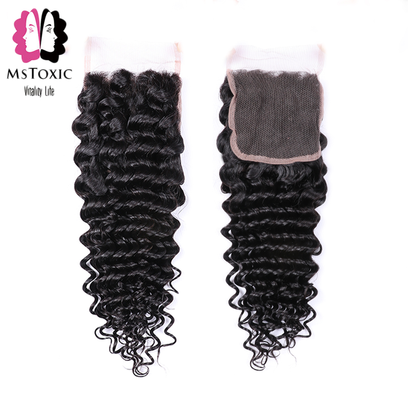 Mstoxic Brazilian Deep Wave Closure Human Hair Lace Closure Free Part 4x 4 Non Remy Hair Closure Natural Color Free Shipping