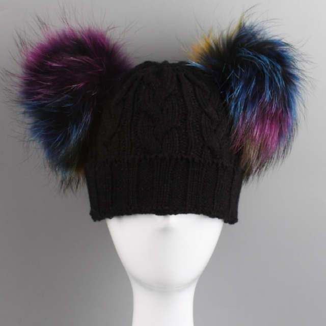 d701a33aa6b placeholder Which in shower Family Two Real Dyeing Raccoon Fur Pompom Ball Winter  Hat Double Fur Pom