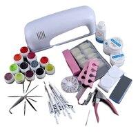 9W Lamp Dryer for Nails 12pcs/set UV Gel Polish Nail Kit False Tip Manicure Nail Extension Nail Tools Kit UV Gel Vanishes Kit