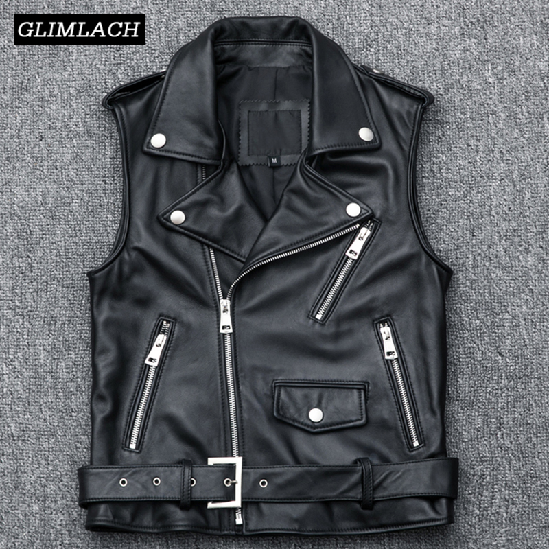 Femmes moto Biker en peau de mouton en cuir gilet Zipper court en cuir véritable gilet sans manches veste grande taille 4XL ceintures manteau