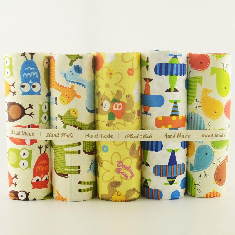Diseño encantador de la historieta 5 unids/lote tela de algodón 40 cm x 50 cm te