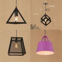 modern cage pendant light iron minimalist retro Scandinavian loft pyramid pendant lamp metal Hanging Lamp E27 Indoor