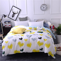High quality fresh Nordic style bedding 100% cotton 1pcs Twin queen king size love blue yellow duvet cover girl/adult bedclothes