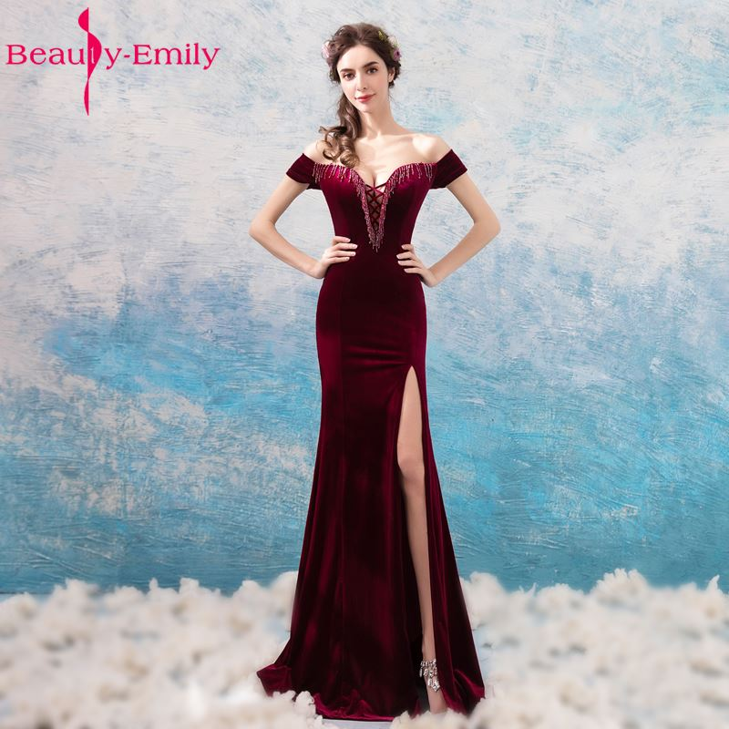 a2cabfe90c7 Beauty Emily Wine Red Long Lace Formal Evening Dresses 2018 Mermaid Sexy  Party Prom Girl Dresses Evening Gowns