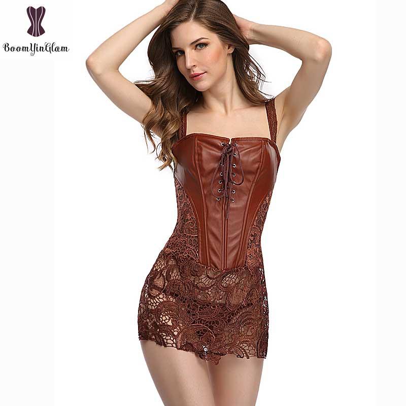 Corset Dress With Laciness Skirt Plus Size 6XL Steampunk Bustier Black Red Brown Corselet Faux Leather Outwear Dress Bone Korset 4
