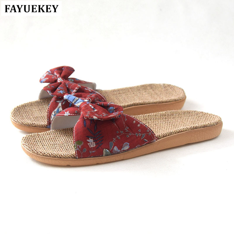 FAYUEKEY 2018 Summer Fashion Home Linen Print Bowknot Breathable Slippers Women Indoor Floor Beach Slides Girls Gift Flat Shoes coolsa new summer linen women slippers fabric eva flat non slip slides linen sandals home slipper lovers casual straw beach shoe