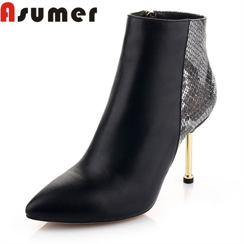 ASUMER HOT SALE 2018 fashion adult ankle boots for women solid sexy autumn boots pointed toe genuine leather boots shallow bootsASUMER HOT SALE 2018 fashion adult ankle boots for women solid sexy autumn boots pointed toe genuine leather boots shallow boots