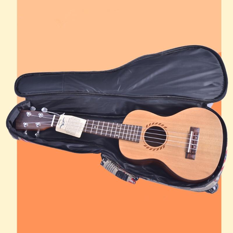 10mm Thick Leather Canvas Waterproof Soprano Concert Tenor Ukulele Bag Case Backpack 21 23 26 Inch Ukelele Guitar Gig