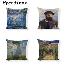 Monet Sunrise Impression Cushion Cover Blue water lily Throw Pillowcase Decorative Art Exhibition Field Home Sofa Pillow Covers