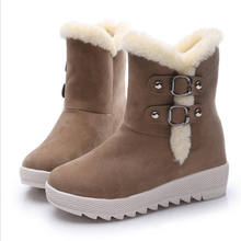 women Snow Boots 2016 women flock New Round Toe Low Heel Flat With Winter Warm Shoes Leather Ankle Boots For Women