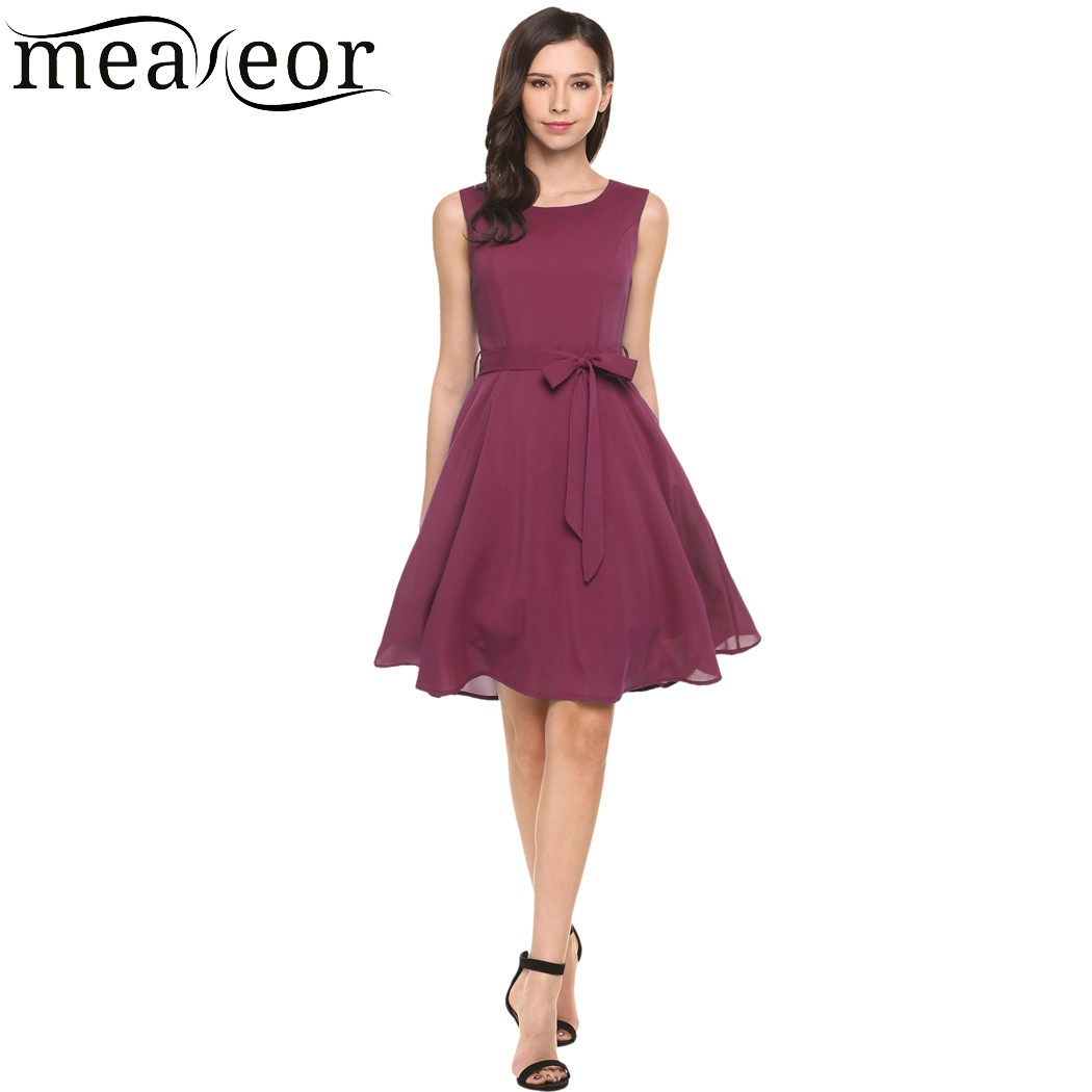 Meaneor Casual Women Sleeveless Solide Belted Cocktail Partei ...