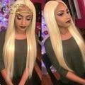 8A Полный #613 Чисто Блондинка Кружева Перед Парики Для Черный/Белый Женщин Бразильский Виргинский Человеческие Волосы Шелк Прямо Full Lace Wig
