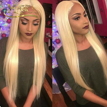 8A Full #613 Pure Blonde Lace Front Wigs For Black/White Women Brazilian Virgin Human Hair Silk Straight Full Lace Wig