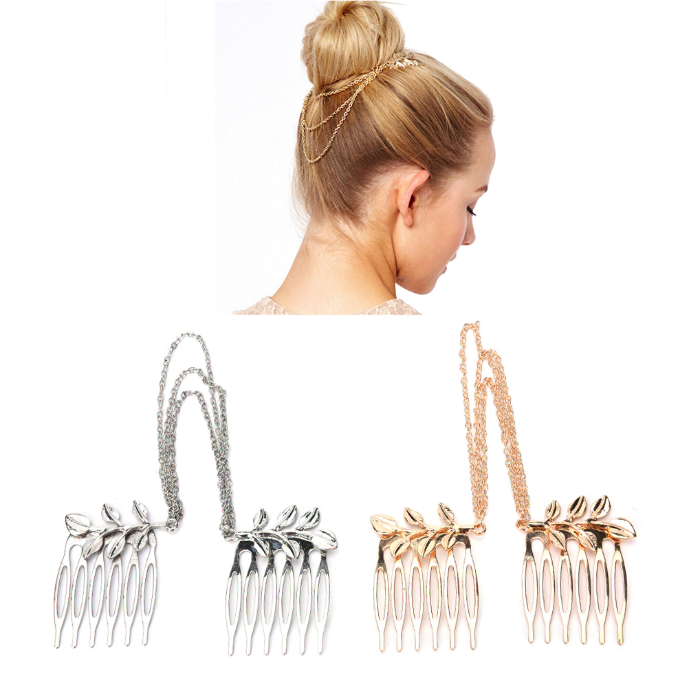 1PC Hot Vintage Double Gold Chain With Leaf Comb Head  Cheap-fine Headbands For Women Girl Lady Hair Accessories
